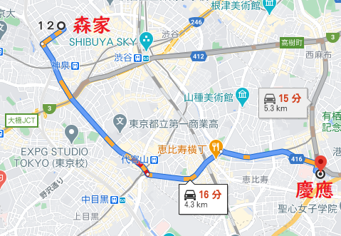 hiroの自宅から慶應幼稚舎への経路