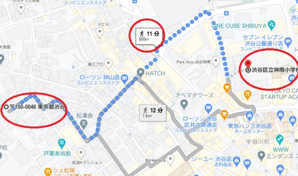 hiroの自宅から学校までの地図