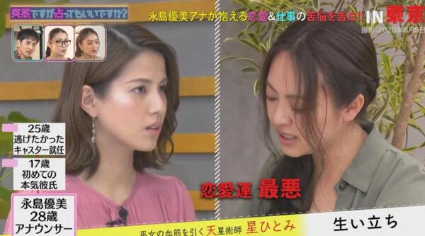 永島優美の2016年の恋愛運は最悪といわれているところ