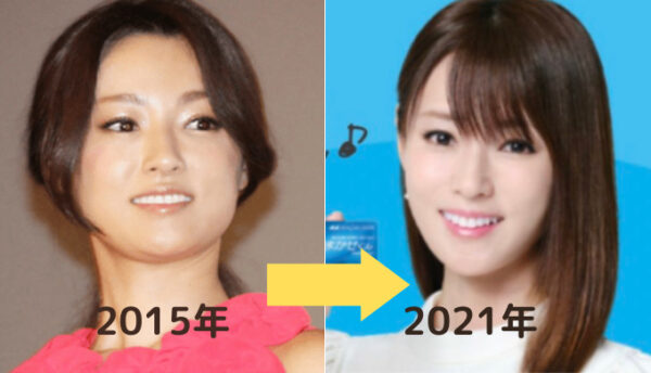 2015年と2021年の深田恭子の比較画像
