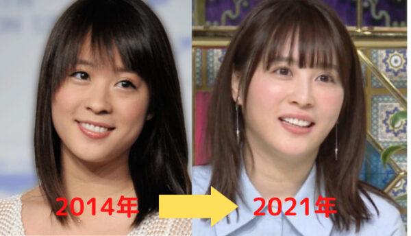 北乃きいの顔2014年から2021年の変化比較画像