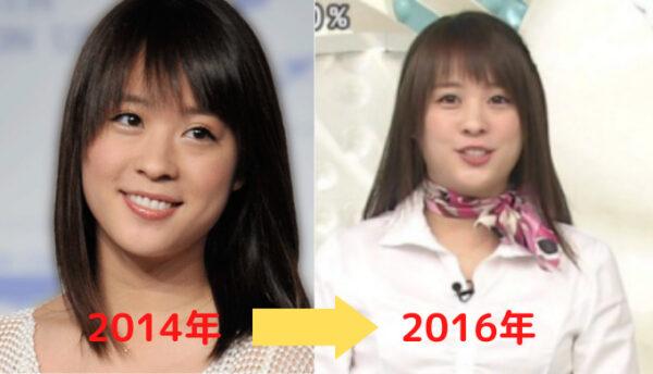 2014年から20156年の北乃きいの顔比較画像