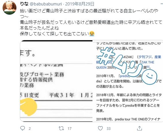 渋谷すばるの会社の謄本と言われるものを載せているツイート