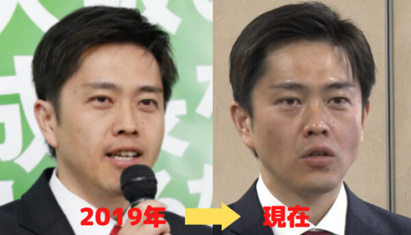 209年から現在の吉村知事の顔の比較画像