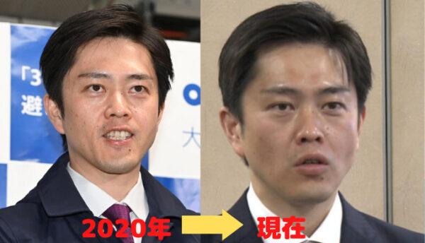 2020年と2021年現在の吉村知事の比較画像