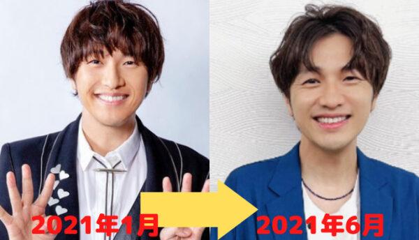 2021年1月と6月の北川悠仁の顔