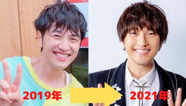 2019年と2021年の北川悠仁の顔画像比較