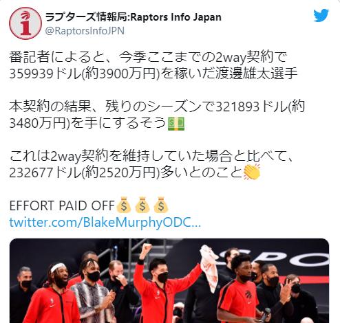 渡邊雄太の2020-21年の年俸のツイート