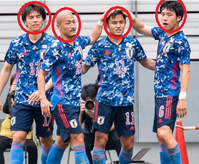 久保建英の顔を他のメンバーの顔と比較
