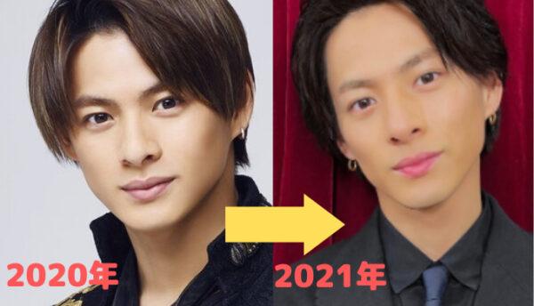 平野紫耀の顔2020年と2021年の比較画像