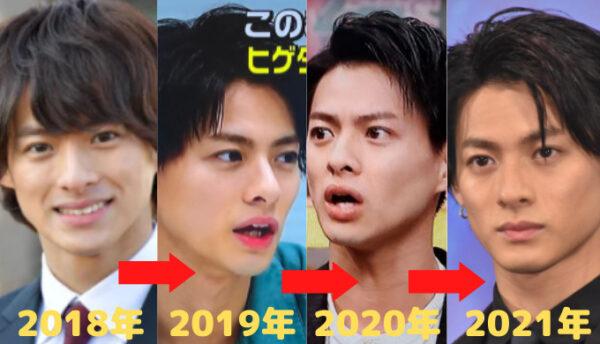 2018年から2021年の平野紫耀の顔画像比較