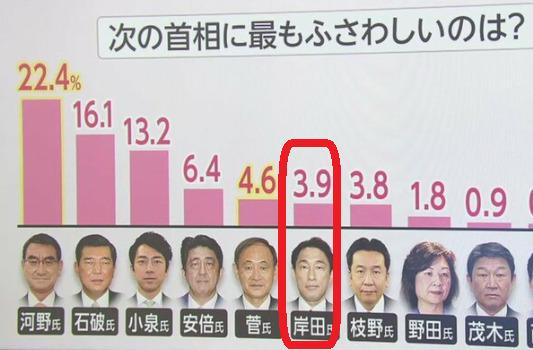 次期総理にふさわしい人のアンケート結果岸田文雄は6位