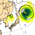 10/2ヨーロッパ中期予報センターによる台風16号の進路予想