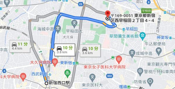 ヨグモグから新宿駅西口までの地図