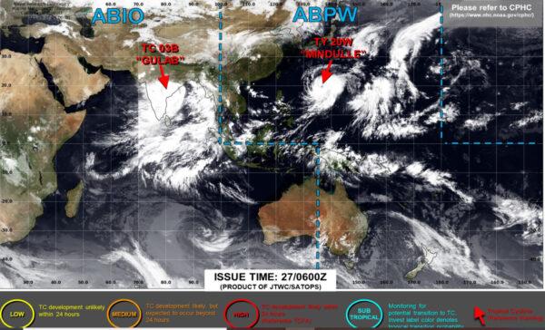 米軍合同台風警戒センター(JTWC)の台風16号の様子