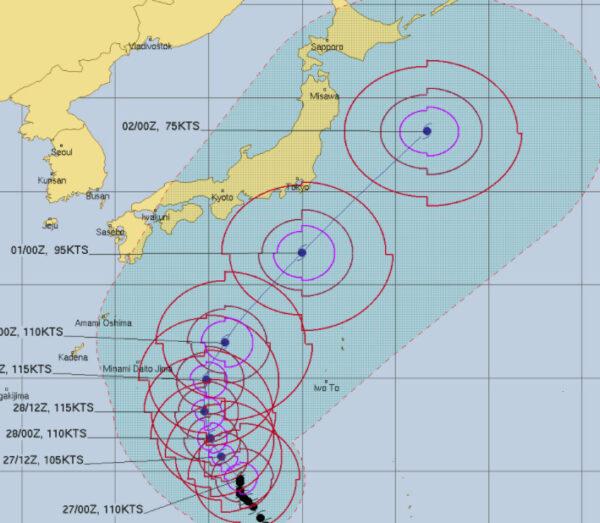 米軍合同台風警戒センターによる台風16号進路予想