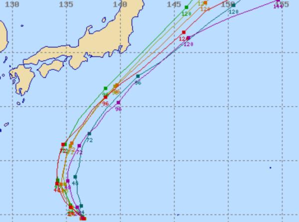 世界各国の台風進路予想